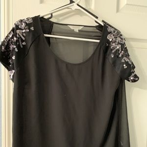 Black sheer top with sequins